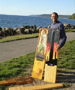 Artist Daniel Kebede and his wooden chair sculpture